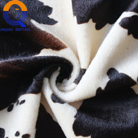 Factory Wholesale 100% polyester chocolate cow print micro EF velboa home textile fabric