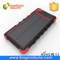 High capacity solar panels 220mA powerbank 16000mah,waterproof mini slim solar emergency power bank chargers