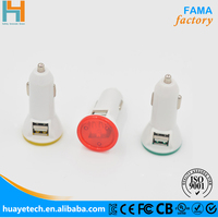 factory supply for 4 amp usb car charger with LED light for cell in UK 2017