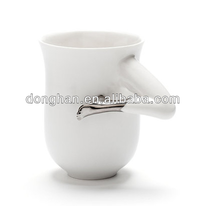 White Coffee Mug with Platinum Boot Porcelain Ceramics and Pottery