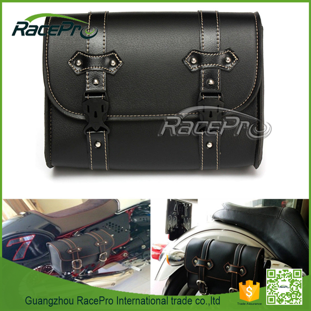 Universal Leather Storage Pouch Motorcycle Saddle Luggage Bag For Harley Davidson