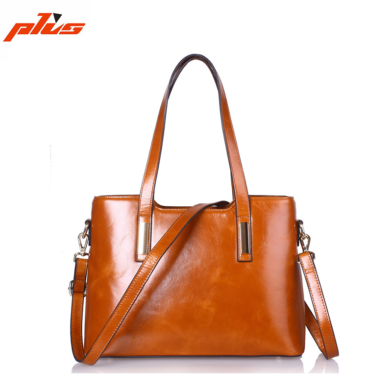 Light Brown Waxed Genuine Leather Womens 2014 the Most Popular Handbag