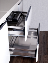 Kitchen cabinet drawer sliding basket Stainless steel plate type pull out basket