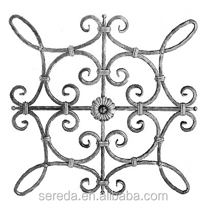 Ends bevel cut and hammered wrought iron rosettes
