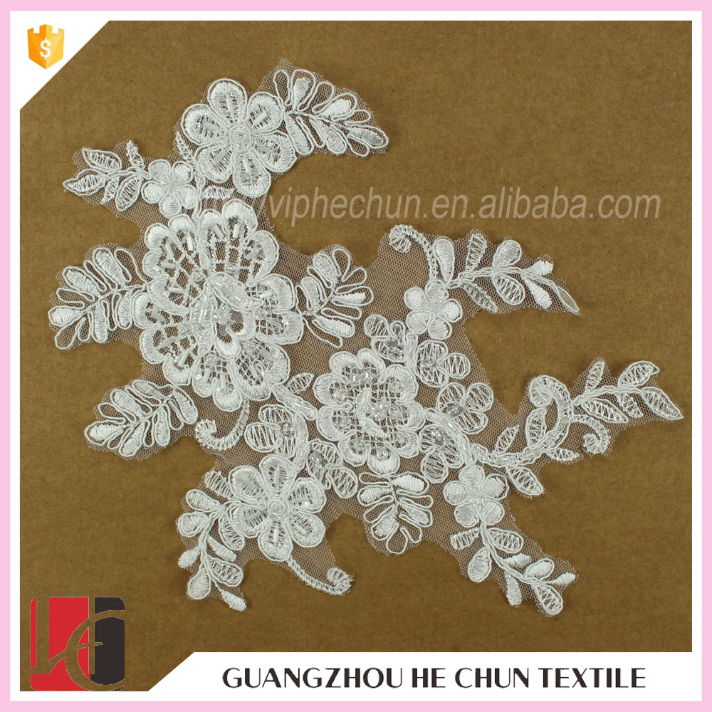 HC-2745 -1 Hechun Sead Bead Crochet Patterns Lace Bridal Applique Patch