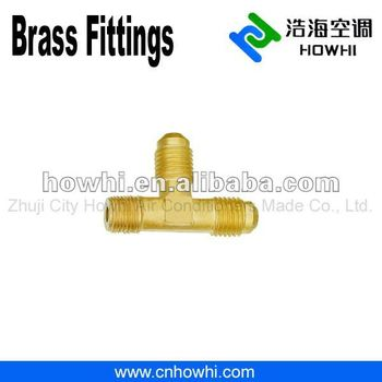 brass pipe fitting, Right Angle Tee - Flare to NPT on run