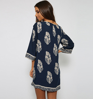 Vintage Style Women Casual Loose O-Neck 3/4 Sleeve Print Summer Beach Dress
