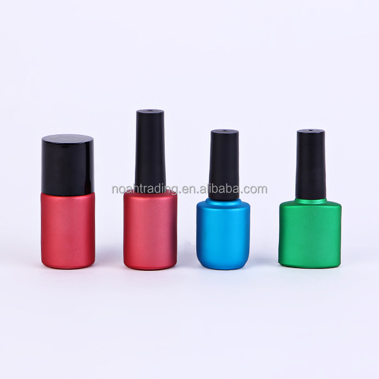2016 full set color coated custom UV glass nail color packaging bottle, nail gel polish bottle nail lacquer gel bottle