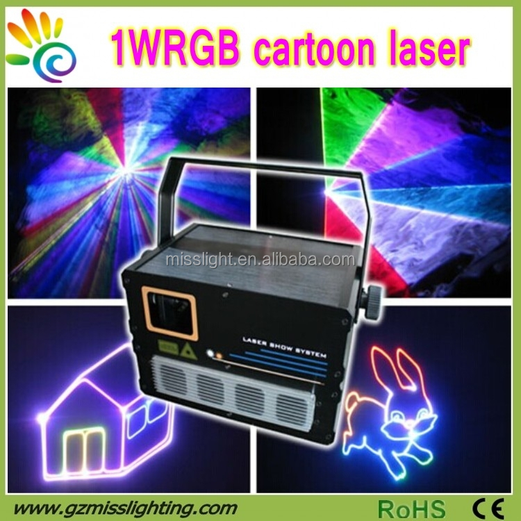 Hot 1W RGB cartoon full color laser light show equipment for sale
