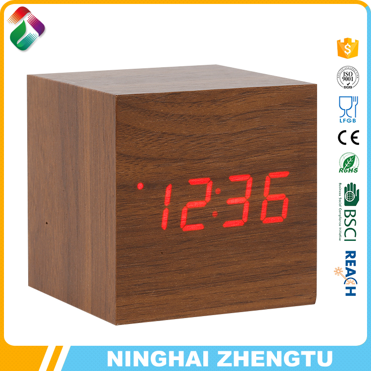 hot sale stand led table wooden clock, wooden table clock, wooden alarm clock with antique style