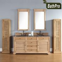 Classic Style classic bathroom furniture oak wood double basin solid wood cabinets