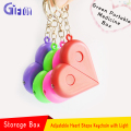 Hot Adjustable heart shape keychain with light Factory wholesale custom creative heart-shaped Storage box