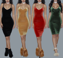 B31914A Korean fashion bodycon midi dress woman halter velvet dress