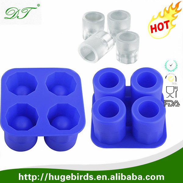 Custom Private Label Silicone Ice Shot Glasses Fancy Cube Tray