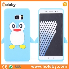 Most popular soft cover back 3d penguin silicone phone case for Samsung Galaxy Note 7/ N930