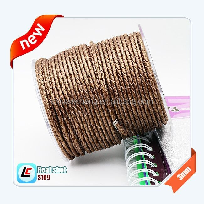3mm Metallic Brown Round Cow Genuine Leather Cord