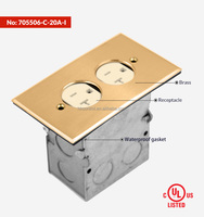 120V AC UL approved Brass Flip Floor Box