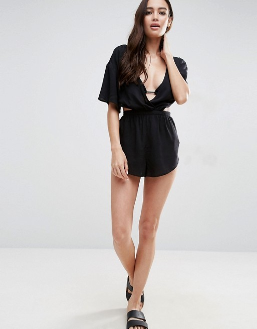 2017 Women's Latest Fashion Jumpsuit, Flutter Sleeve Sexy Playsuit with Bow Back