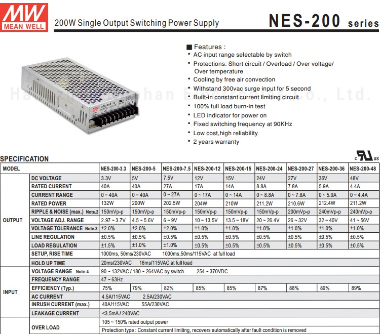 Meanwell NES-200-36 200W 36v 5.9a switching power supply