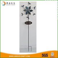 Wholesale Vintage Metal Leaves Garden Ornament Wind Spinner With WELCOME Sign