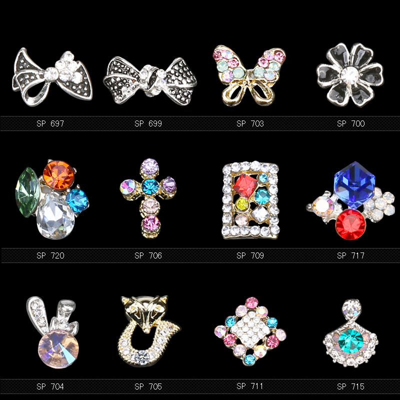 Wholesale acrylic flower alloy 3d nail art supplies nail charms