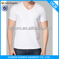 Oem Service Blank 90% Cotton 10% Spandex Mixcolor V Neck Organic Cotton T Shirts