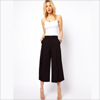 S30413A EUROPEAN FASHION BLACK WIDE LEG CROPPED TROUSERS
