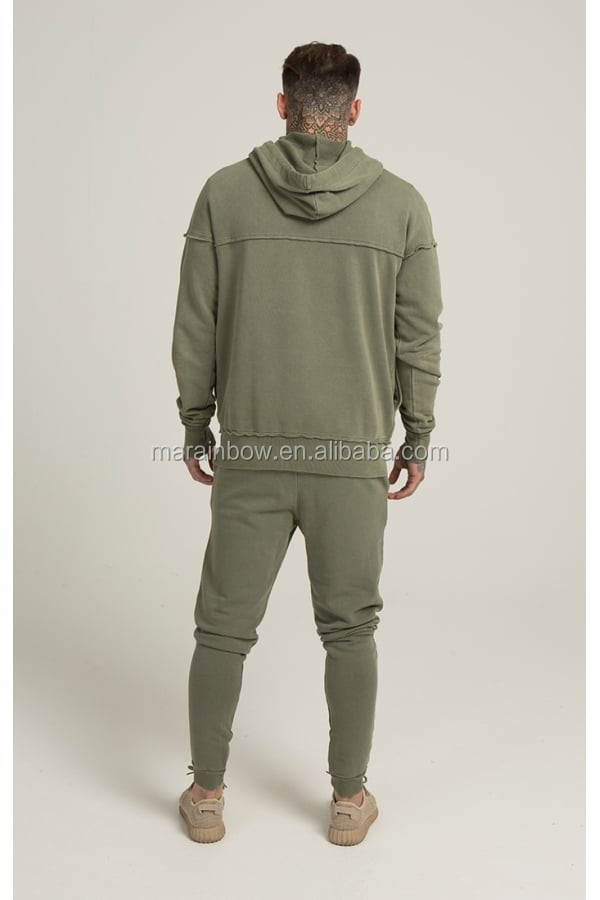Khaki Men's Full Tracksuits 100% Cotton Raw Cut Gym Pullover Hoodie Tapered Jogger Pants Custom Tracksuit Tops and Bottms