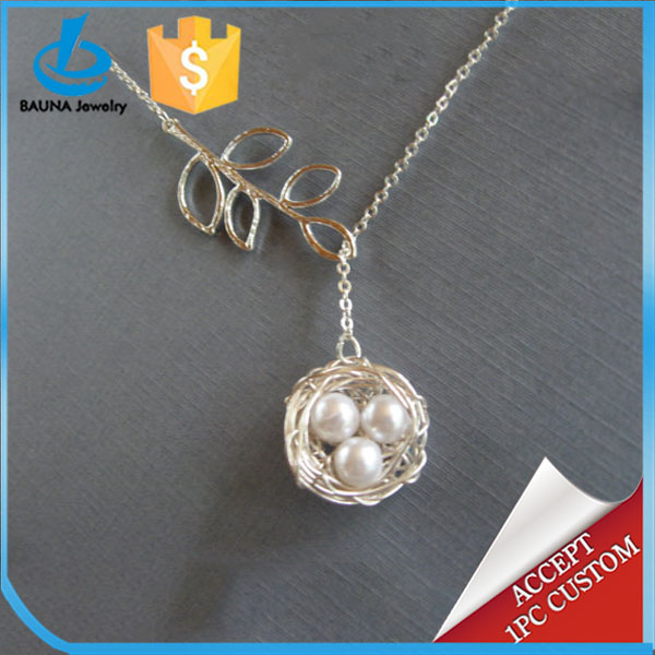Gold plated lariat branch bird nest necklace for mothers day