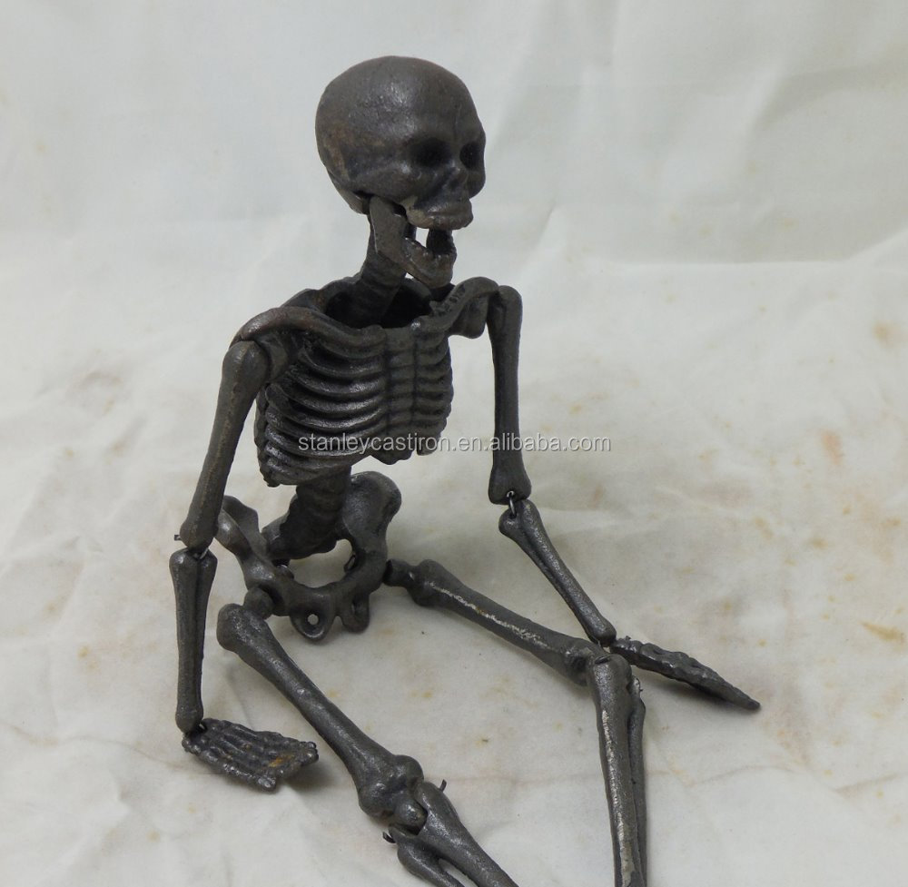Cast Iron Skeleton Figurine