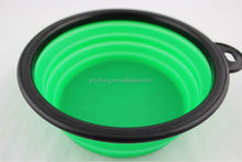 food grade popular round green with black cute dog handle 2014 new design Silicone dog pet bowl/Collapsible Silicone pet bowl