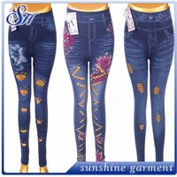fashion trend customized print tight spandex girls seamless leggings with women jeans