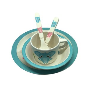 CE/FDA certificated animal design baby meal dinner sets/kid melamine bamboo fiber dinnerware sets