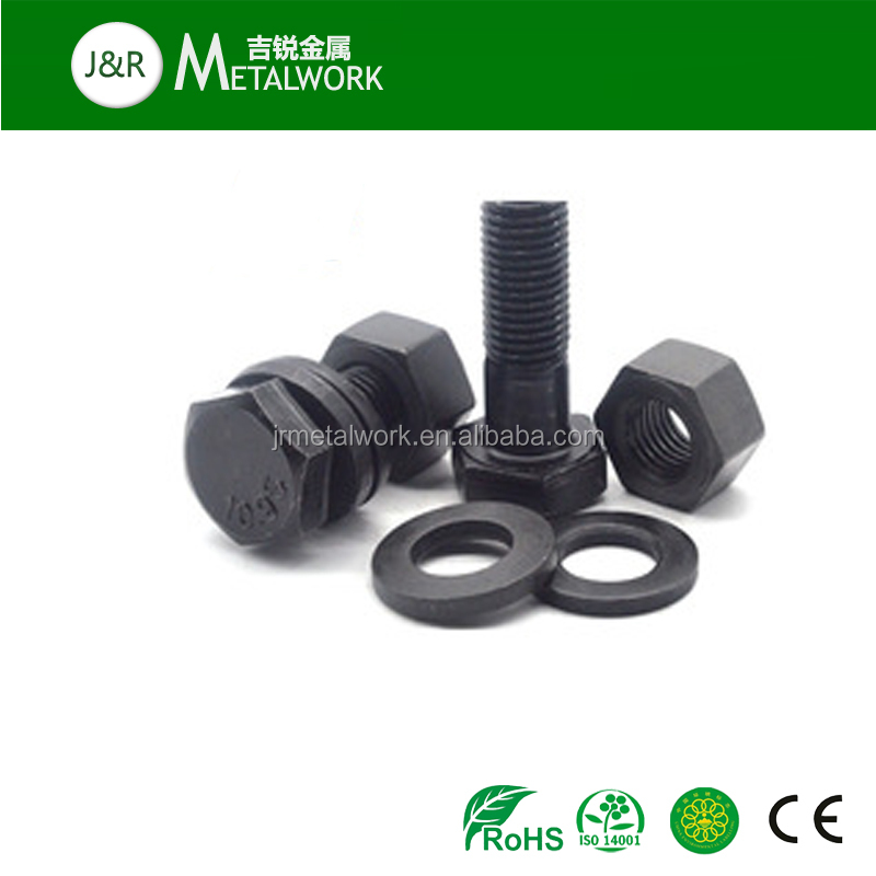 Factory price M10 M30 grade 8.8 black oxide hex bolt and nut DIN933