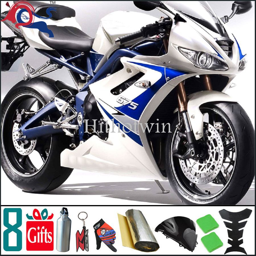 675 2008 2007 2006 For Triumph Daytona 675 2006 2008 2007 Silvery white and pure white blue ABS Aftermarket Fairings 19