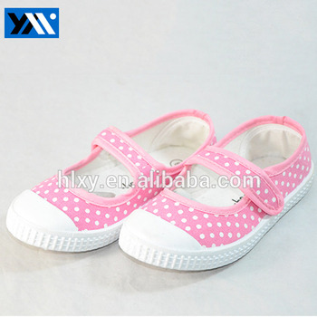 Cheap comfortable pink little girls canvas flat shoes