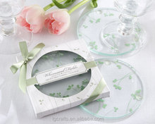 Factory Sales green grass Clear Round Glass Coasters