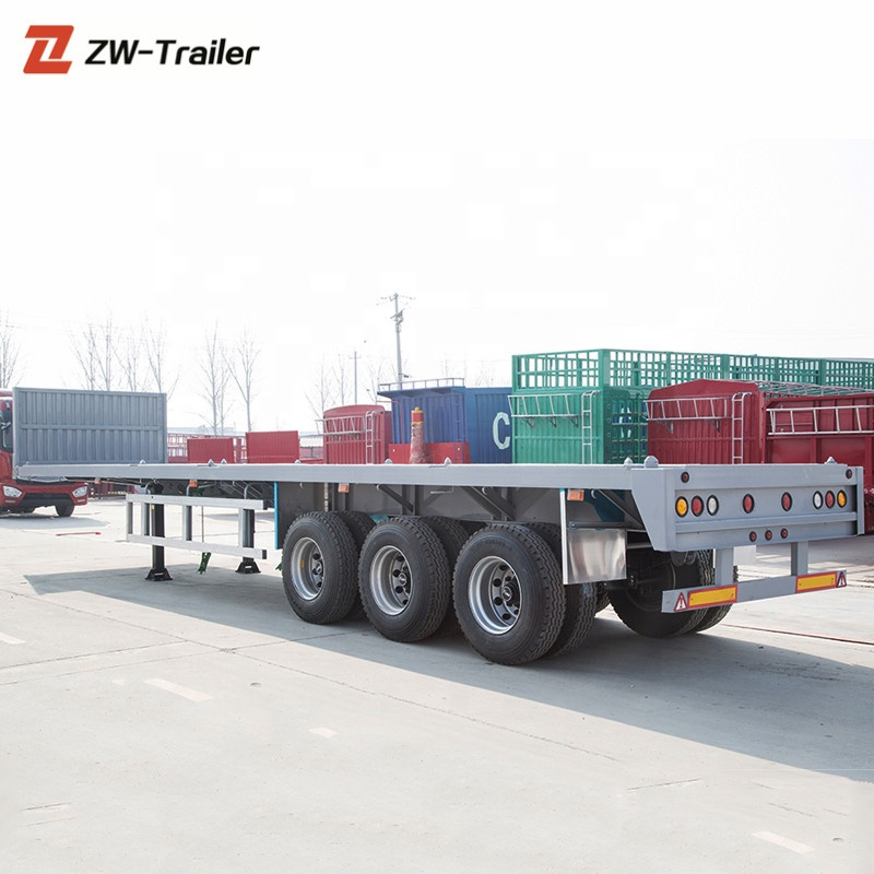 High Quality 3 <strong>Axles</strong> 2x20ft or 40 ft Flatbed Container Carrier Semi Trailer