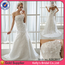 Hot sale cheap price strapless satin wedding dress satin ribbon with waist wedding dress