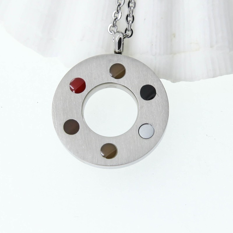 Concentric Circles With Zircon Energy Silver Fashion Necklace Pendant