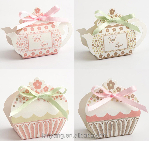 Best Quality DIY Tea Pot Cup Cake Favor Wedding Party Gift Boxes