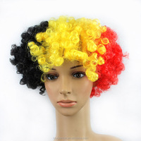 2015 New Arrival hot sale short none lace wig 120g Belgium100% polyester black yellow red football fan wig