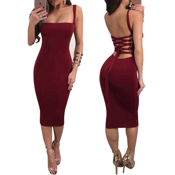 Delightful Backless Wholesale Red Ladies Simple Fashion Dress