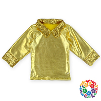 New Style Fashion Girls Fancy Tops Low Price Modern Girls Polo Tops Girls Blouses Long Sleeve Sequined Glittering Top