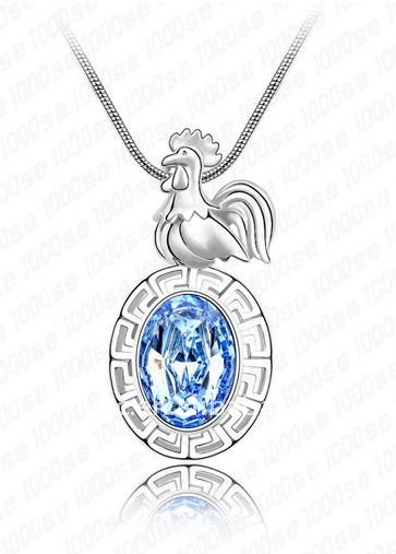 Fashion silver blue crystal zodiac cock necklace jewelry(1105689)