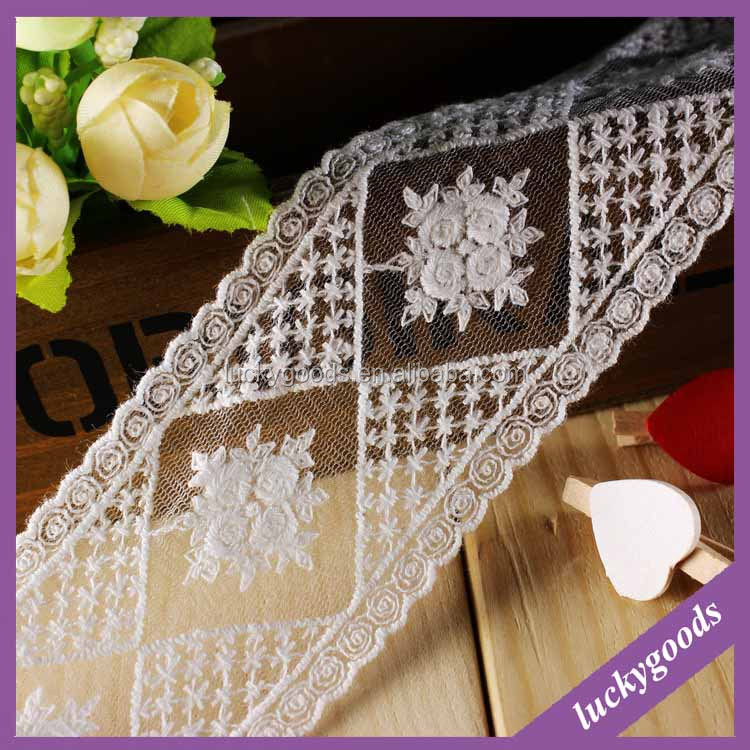 LLS003 popular selling decorative 100% cotton 5.2cm with lace trim embroidery