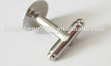 China export shiny nickle cufflink blank cufflinks brass material
