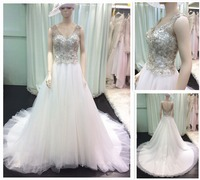 Alibaba Real Picture Wholesale V-Neck V-Back Sleeveless Princess Crystal A-Line Rhinestone Wedding Dresses Ball Gowns 2016 A122