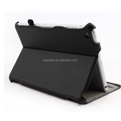 Multiple angles standing heat setting leather case for ipad mini tablet pc