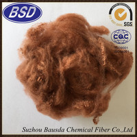 bright coffee camel plastic recycled spinning polyester staple fiber